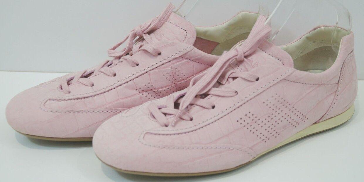 HOGAN femme rose pâle en Daim Cuir Imprimé Animal Lacets Baskets Baskets UK7