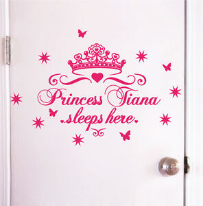 Custom-Name-Princess-sleeps-here-Nursery-Vinyl-Wall-Art-Sticker-Decal-Children