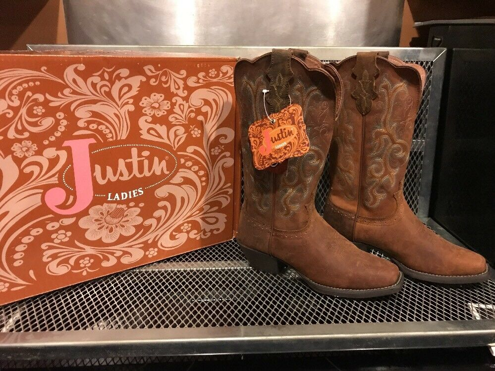 Justin Damas botas Acedera  tamaño 6B Vaquera botas Damas de cuero occidental  Nuevo en Caja L2552 ffc1ae