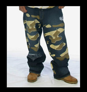 NEW-MAJAH-FLAVAH-URBAN-CAMOUFLAGE-CAMO-JEANS-HIP-HOP-ERA-BAGGY-W30-UNIQUE