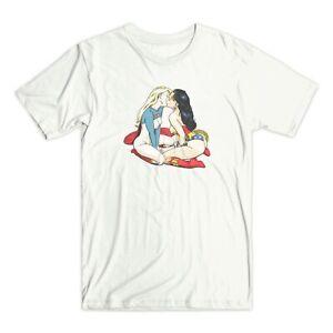 Sexy Super-héros T-shirt Kissing Lesbian Pride-afficher Le Titre D'origine Pure Blancheur
