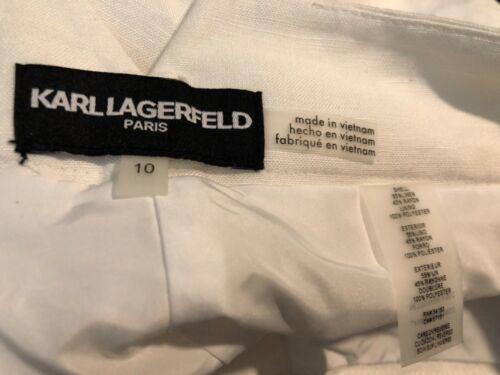 Lagerfeld 10 lin en pantalon New pour taille habillé crème Karl femmes Culottes TIxdwTz