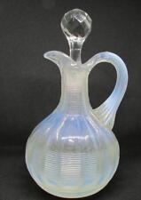 EAPG Klondyke Threaded Opalescent Glass Cruet Northwood Early 1900s