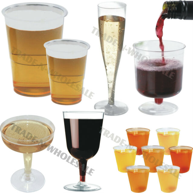 DISPOSABLE PLASTIC GLASSES, CHAMPAGNE FLUTES WINE COCKTAIL HALF PINT SHOT BOMB