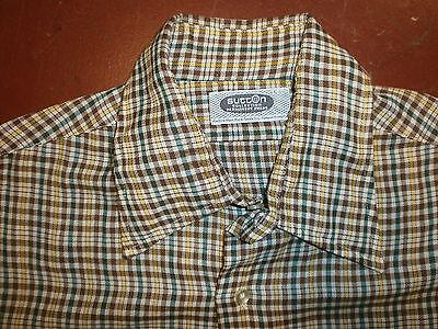 Begeistert Vtg 60er Jahre 70er Sutton Sammlung Kariertes Hemd Hellbraun Gelb Grün Mod Groß