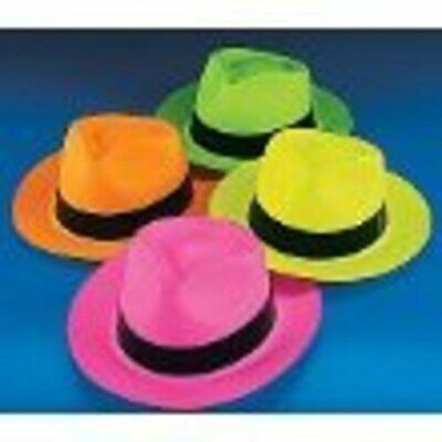 BULK NEON COLOR PLASTIC GANGSTER HATS  1 DOZEN