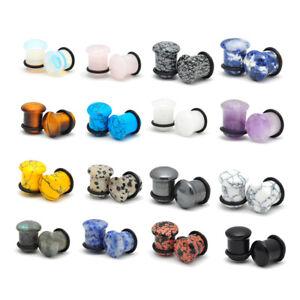 Pair-of-Stone-Single-Flare-Plugs-gauges-organic-Choose-Size-Type