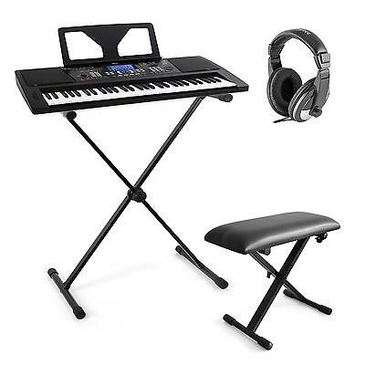 SET PIANO NUMERIQUE SCHUBERT CLAVIER 61T USB MIDI CASQUE TABOURET SUPPORT EN X
