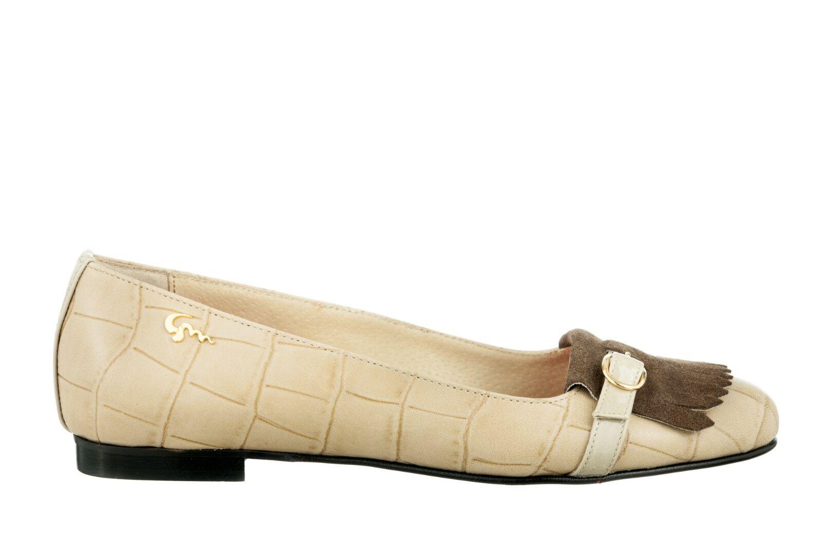 MORI MADE ITALY FLATS SCHUHE Schuhe LEATHER BALLERINA KROCO SUEDE LEATHER Schuhe BEIGE NUDE 44 2a8d42