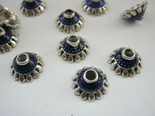 """3//8/"""" inch Silver Blue Flower Petal Beads Ends Findings 10 Blue Bead Caps 10mm"""