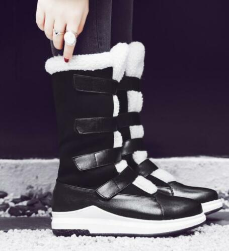 Womens Winter Furry Lined Creepers Round toe Warm Casual Mid calf Snow Boots