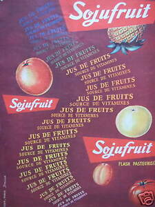 PUBLICITE-1958-SOJUFRUIT-FLASH-PASTEURISE-JUS-DE-FRUITS-ADVERTISING