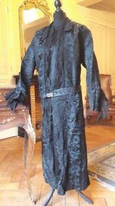 Superbe Robe Noire En Damas De Soie Année 1900 - Soierie Lyonnaise Vente De Fin D'AnnéE