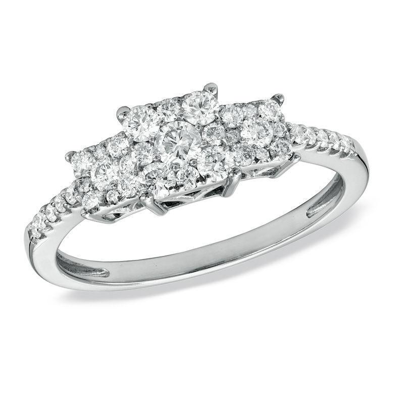 14K White gold 1 2 CT T.W. Composite Princess-Cut Diamond Three Stone Ring Zales
