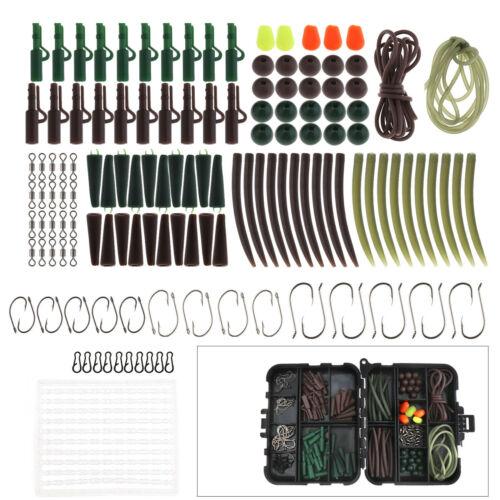 128Pcs PRO Angeln Karpfen Zubehör Set Box Hacken Safty Clip Tail Rubber Wirbel