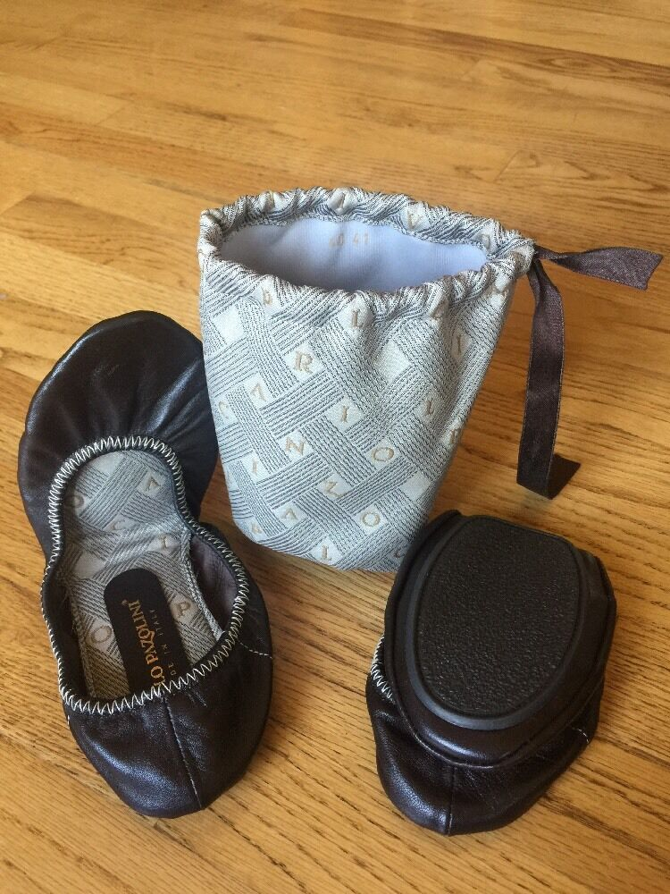 Carlo Pazolini Made In Italy Choc Brown Bag Leather Flat Shoes W/Purse Bag Brown Size 10 baf85e