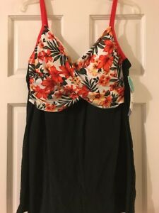 1990a354f35a8 $29 New Catalina Women's Surplice Crossover Swim Dress XL/XG Floral ...