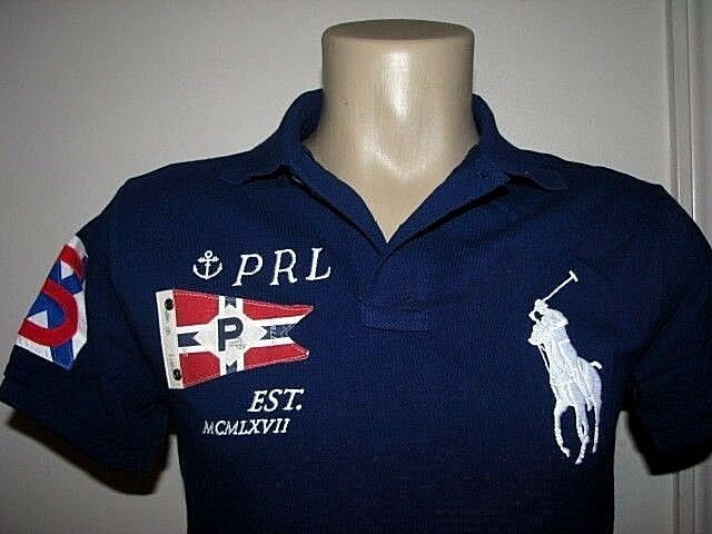 98. 98. 98. SLIM FIT  S  POLO-RALPH LAUREN Mesh BIG PONY & FLAG Polo Shirt  Nautical  e5e738