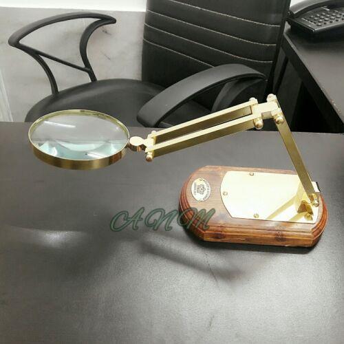 Table Magnifying Glass Adjustable Antique Brass Magnifier Vintage Wooden Base