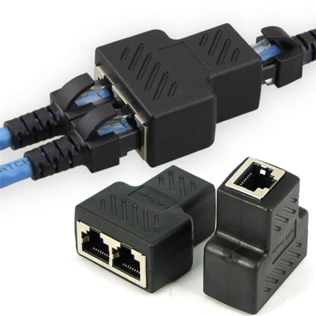 1 To 2 Way RJ45 LAN Ethernet Network Cable Female Splitter Connector&Adapter WG