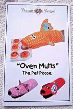 "PIECEFUL DESIGNS SEWING PATTERN~UNCUT~OVEN MITT/ ""MUTTS"" PET POSSE:DOG&CAT&FISH"