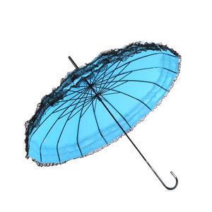 New Anti-UV Pagoda Umbrella Lace Princess Straight shank Wedding Bridal Umbrella