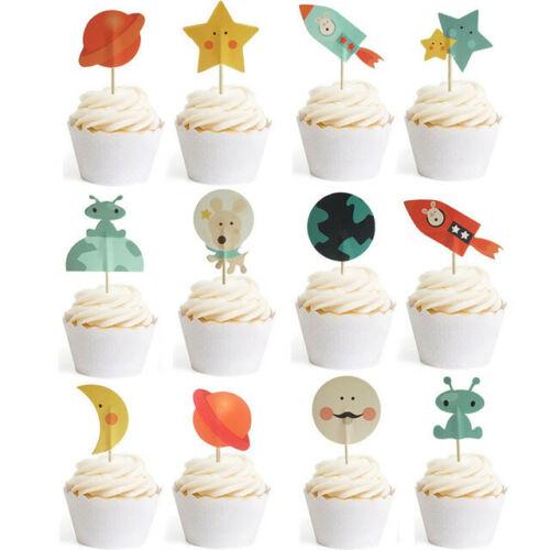 24x Rocket Space Planet Cupcake Picks Cake Topper Birthday Party Supplier Boys