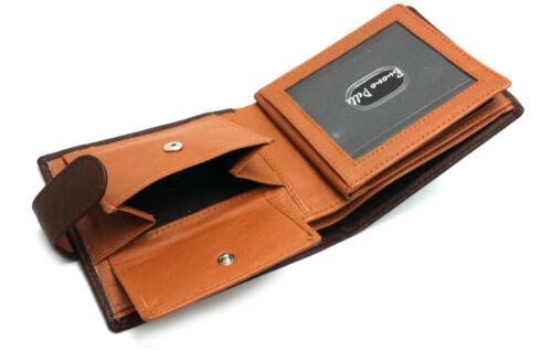 MENS DESIGNER BUONO PELLE QUALITY LEATHER VEG TAN WALLET CREDIT CARD COIN PURSE