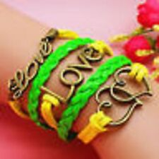 NEW Charm Fashion Jewelry LOVE HEART Leather Bracelet Bronze GREEN YELLOW