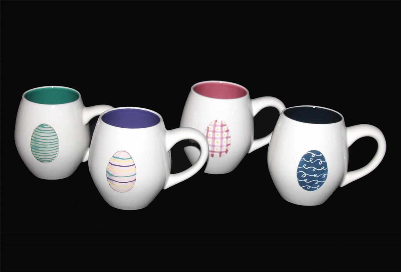 4 RAE DUNN  HAPPY EASTER  Decorated Eggs Fat Belly Mugs colord Interior NEW