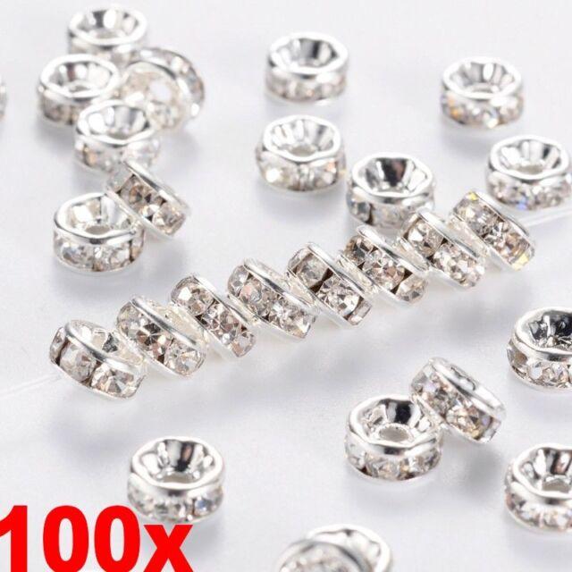 100PCS Silver Austira Clear Crystal Rhinestone Rondelle Spacer Beads DIY 8mm eb9f97b2b5bd