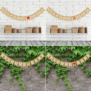 Vintage Jute Hessian Bunt Banner Wimpelgirlande Wimpelkette für Familienparty