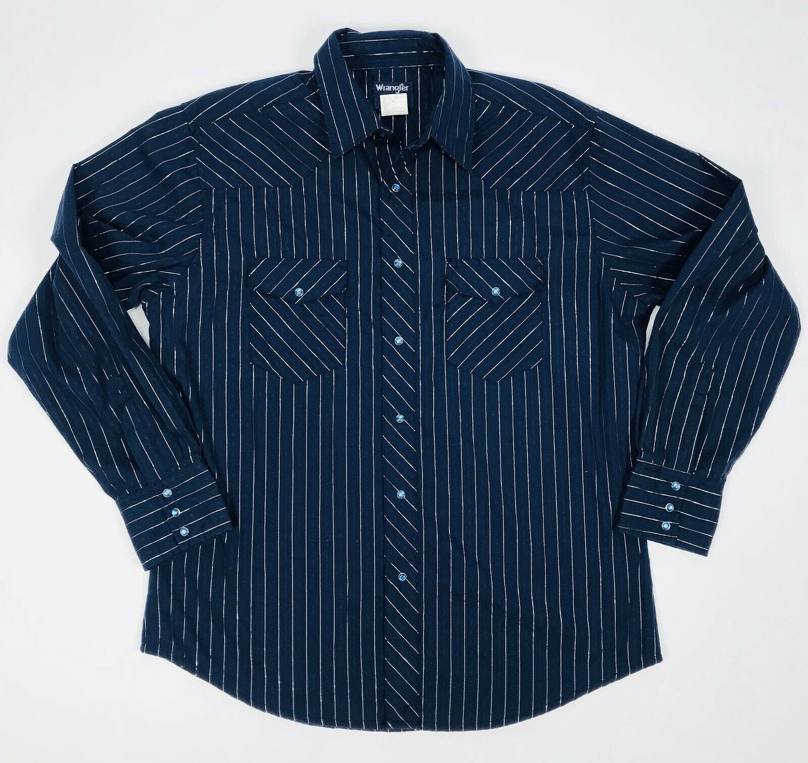 VTG WRANGLER Rodeo Western Shirt Cowboy Pearl Snap Navy bluee Metallic Stripes L