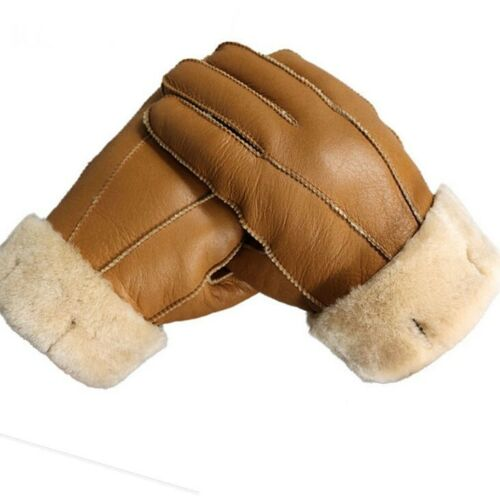 Men Winter Leather Gloves Warm Genuine Sheep Fur Mittens Thermal Fur Cashmere