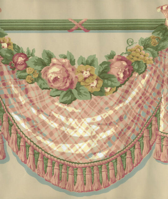 VICTORIAN  PEACH ,YELLOW,AND   GREEN  DRAPERY ROSE SWAG   WALLPAPER BORDER