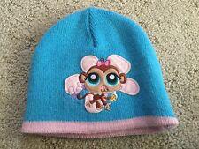 Littlest Pet Shop LPS Monkey Beanie Pink Blue Knit Hat Embroidered Girls 4 5 6