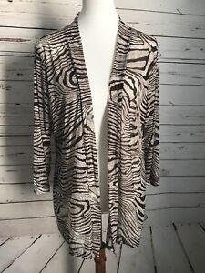 Chico-039-s-Easywear-Women-039-s-Size-2-Zebra-Stripe-Animal-Print-Cardigan-Brown