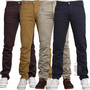 ENZO-Men-039-s-Slim-Fit-Chinos-Jeans-Skinny-Stretch-Trousers-All-Waist-Sizes-28-50