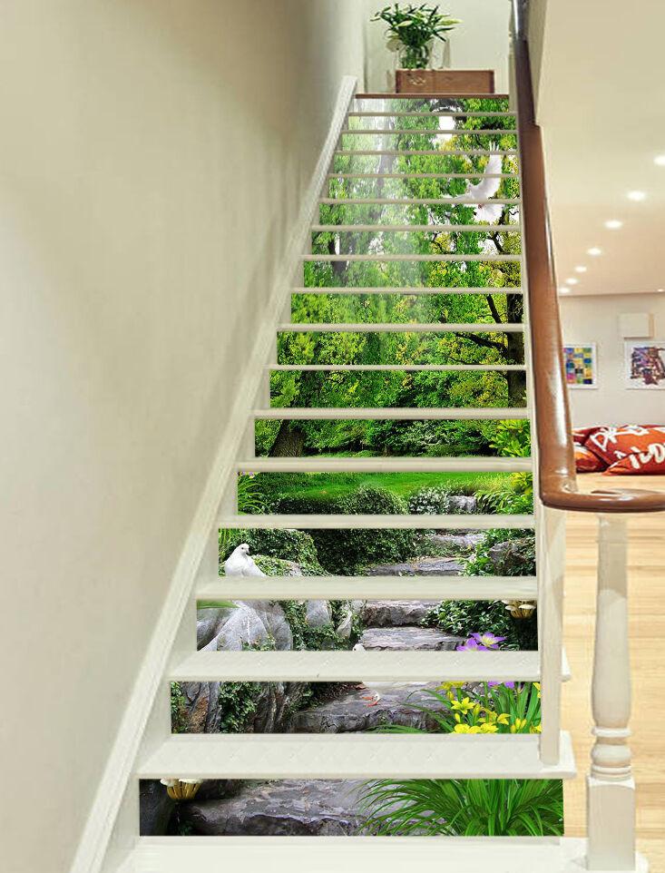 3D Tree road Stair Risers Decoration Photo Mural Vinyl Decal Wallpaper AU