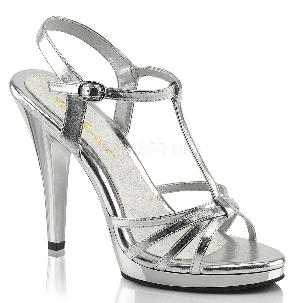 Fabulicious By Pleaser Flair-420 Silber Metallic T-Strap Strappy Sandal schuhe