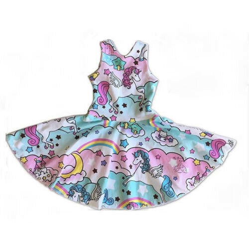 Unicorns Fashion Kids Girls Dress Party Casual Sundresses Children Wear Clothing