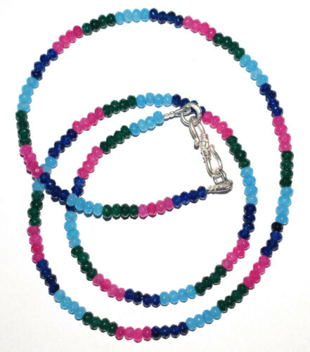 Details about  /925 Sterling Silver 30-127 cm Strand Necklace Multi Jade Stone 3.5 mm Beads MNJ5