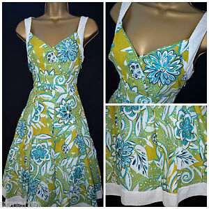 NEW-PER-UNA-DRESS-SUNDRESS-GREEN-TURQUOISE-IVORY-MIDI-SUMMER-COTTON-SIZE-8-24