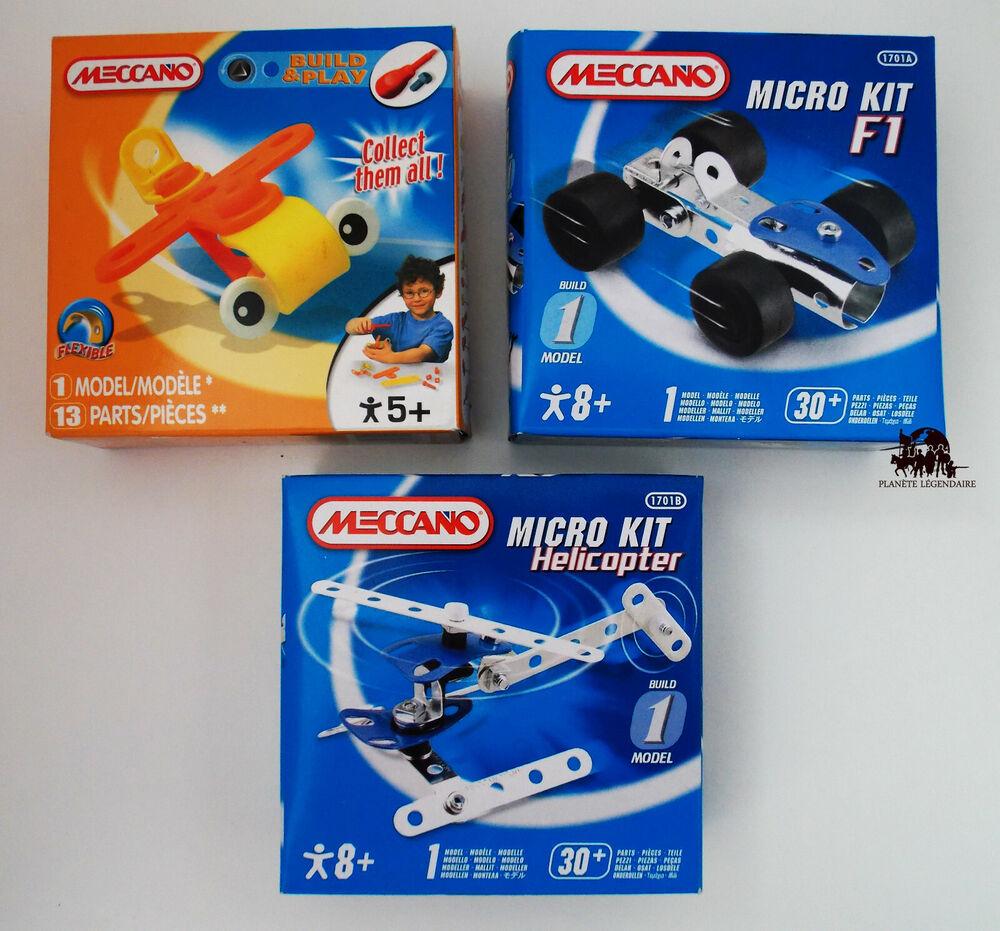 Lot 3 Meccano Jouet Jeu De Construction Micro Kit F1 Avion Hélicoptère Neuf