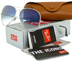 f2a5ff0e3 RAY-BAN AVIATOR RB3025 003/3F 62MM SILVER / LIGHT BLUE GRADIENT ...