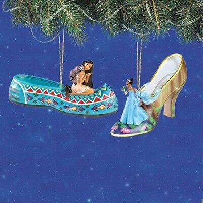 Disney's Once Upon a Slipper Ornaments - Tiana and Pocahontas Shoe Figures set 5