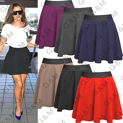 Skater Skirt Stretch Mini Scuba Flared Plain Party Formal Work Short Womens