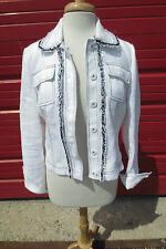 Worth White Pique Jacket w/Navy Blue Fringe Trim Sz 8 Boxy