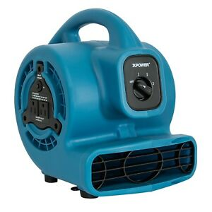 XPOWER P-80A 1/8 HP Mini Air Mover Carpet Dryer Blower Floor Fan w/ Dual Outlet