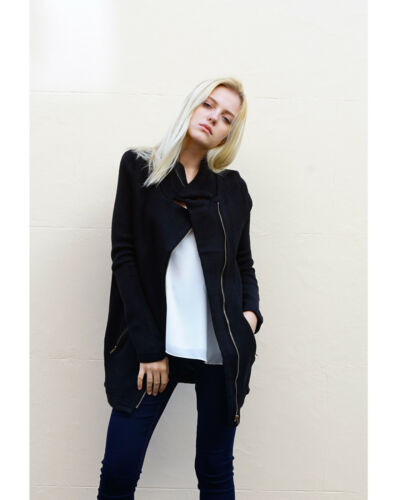 Lady Knitted Black Leather Look Collar Front Zip coat Pockets Jacket Cardigan